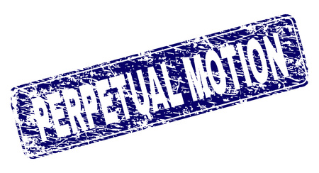 PERPETUAL MOTION stamp seal watermark with distress style. Seal shape is a rounded rectangle with frame. Blue vector rubber print of PERPETUAL MOTION text with dirty style.