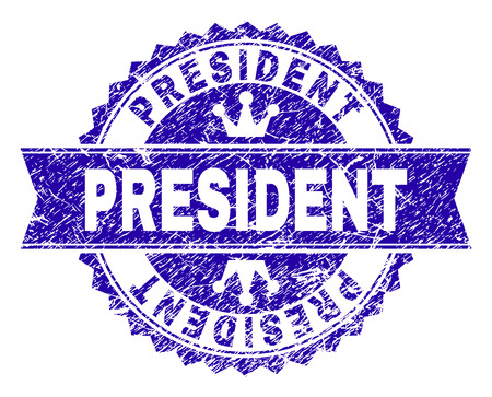 PRESIDENT rosette seal overlay with grunge texture. Designed with round rosette, ribbon and small crowns. Blue vector rubber watermark of PRESIDENT text with corroded texture. Vektoros illusztráció