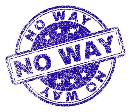 NO WAY stamp seal imprint with grunge texture. Designed with rounded rectangles and circles. Blue vector rubber print of NO WAY text with grunge texture. Illustration