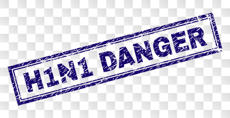 H1N1 DANGER stamp seal imprint with rubber print style and double framed rectangle shape. Stamp is placed on a transparent background. Blue vector rubber print of H1N1 DANGER text with grunge texture.