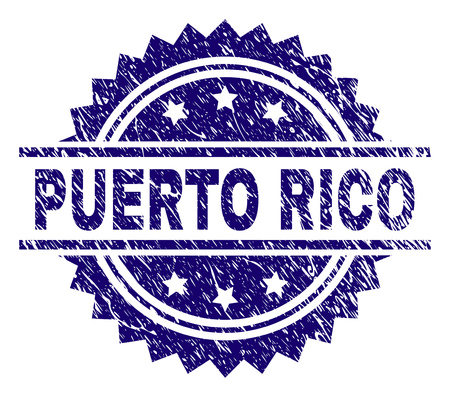 PUERTO RICO stamp seal watermark with distress style. Blue vector rubber print of PUERTO RICO text with dirty texture.