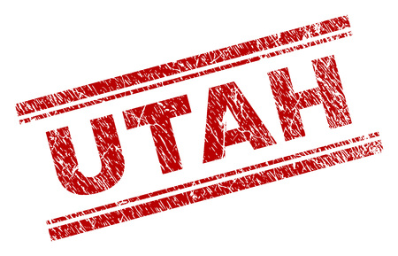 UTAH seal print with distress texture. Red vector rubber print of UTAH text with corroded texture. Text caption is placed between double parallel lines.