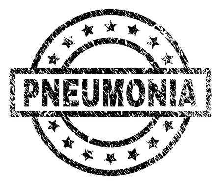 PNEUMONIA stamp seal watermark with distress style. Designed with rectangle, circles and stars. Black vector rubber print of PNEUMONIA label with scratched texture.