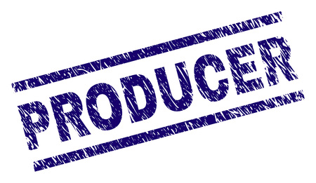 PRODUCER seal print with distress style. Blue vector rubber print of PRODUCER title with scratched texture. Text label is placed between parallel lines.
