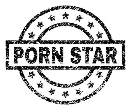 PORN STAR stamp seal watermark with distress style. Designed with rectangle, circles and stars. Black vector rubber print of PORN STAR label with retro texture.