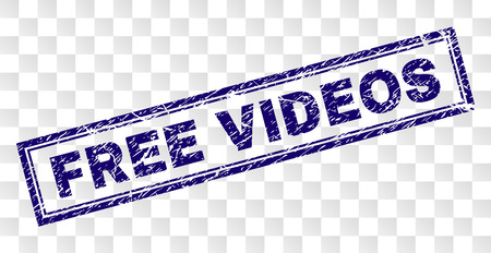 FREE VIDEOS stamp seal print with grainy style and double framed rectangle shape. Stamp is placed on a transparent background. Blue vector rubber print of FREE VIDEOS label with corroded texture.