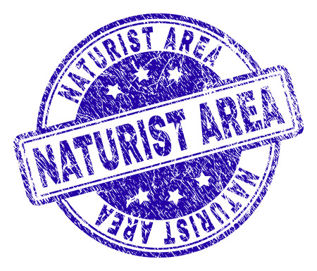 NATURIST AREA stamp seal imprint with grunge texture. Designed with rounded rectangles and circles. Blue vector rubber print of NATURIST AREA caption with corroded texture.