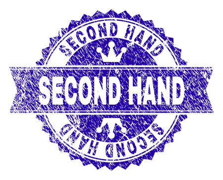 SECOND HAND rosette stamp seal watermark with distress effect. Designed with round rosette, ribbon and small crowns. Blue vector rubber watermark of SECOND HAND title with dirty style.