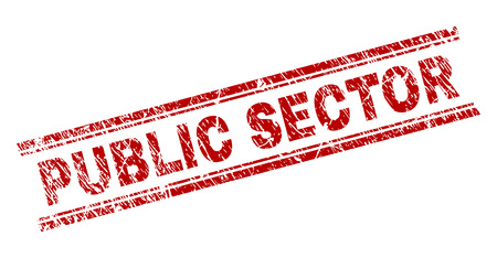 PUBLIC SECTOR seal print with corroded texture. Red vector rubber print of PUBLIC SECTOR text with scratched texture. Text caption is placed between double parallel lines.
