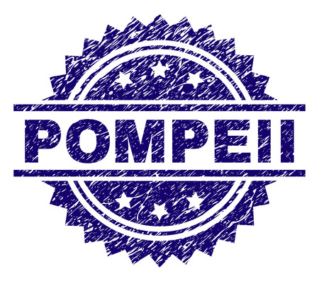 POMPEII stamp seal watermark with distress style. Blue vector rubber print of POMPEII tag with dust texture. Vettoriali