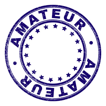 AMATEUR stamp seal watermark with grunge texture. Designed with circles and stars. Blue vector rubber print of AMATEUR caption with corroded texture.