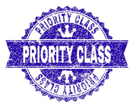 PRIORITY CLASS rosette stamp seal watermark with grunge style. Designed with round rosette, ribbon and small crowns. Blue vector rubber watermark of PRIORITY CLASS title with dust style. Illustration