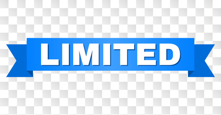 LIMITED text on a ribbon. Designed with white caption and blue stripe. Vector banner with LIMITED tag on a transparent background.