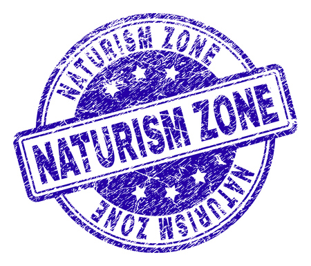 NATURISM ZONE stamp seal imprint with grunge style. Designed with rounded rectangles and circles. Blue vector rubber print of NATURISM ZONE text with grunge texture.