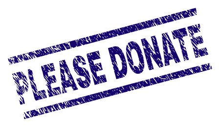 PLEASE DONATE seal print with distress style. Blue vector rubber print of PLEASE DONATE text with scratched texture. Text tag is placed between parallel lines. Illustration