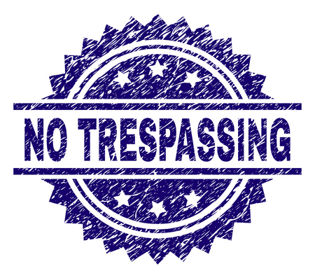 NO TRESPASSING stamp seal watermark with distress style. Blue vector rubber print of NO TRESPASSING title with grunge texture. Stock Vector - 125487316