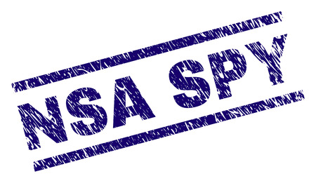 NSA SPY seal imprint with scratced style. Blue vector rubber print of NSA SPY text with corroded texture. Text title is placed between parallel lines. Illustration