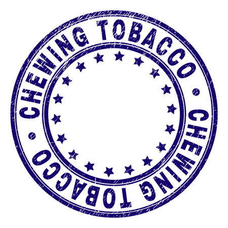 CHEWING TOBACCO stamp seal watermark with distress texture. Designed with circles and stars. Blue vector rubber print of CHEWING TOBACCO title with unclean texture.