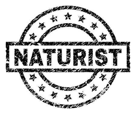 NATURIST stamp seal watermark with distress style. Designed with rectangle, circles and stars. Black vector rubber print of NATURIST tag with scratched texture.