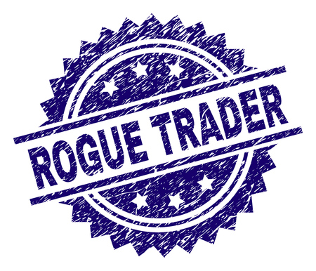 ROGUE TRADER stamp seal watermark with distress style. Blue vector rubber print of ROGUE TRADER text with unclean texture.