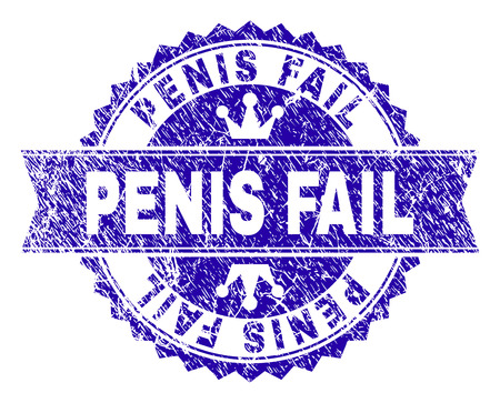 PENIS FAIL rosette stamp watermark with distress style. Designed with round rosette, ribbon and small crowns. Blue vector rubber watermark of PENIS FAIL title with scratched texture.