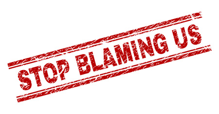 STOP BLAMING US seal print with distress style. Red vector rubber print of STOP BLAMING US text with scratched texture. Text label is placed between double parallel lines. Illustration
