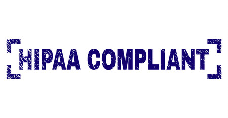 HIPAA COMPLIANT caption seal print with corroded texture. Text caption is placed inside corners. Blue vector rubber print of HIPAA COMPLIANT with dust texture. Ilustração