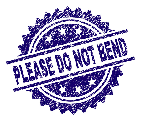 PLEASE DO NOT BEND stamp seal watermark with distress style. Blue vector rubber print of PLEASE DO NOT BEND title with scratched texture. Иллюстрация
