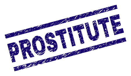 PROSTITUTE seal print with distress style. Blue vector rubber print of PROSTITUTE title with dirty texture. Text title is placed between parallel lines.
