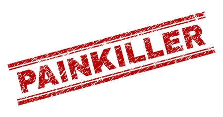 PAINKILLER seal print with distress texture. Red vector rubber print of PAINKILLER caption with dust texture. Text label is placed between double parallel lines.