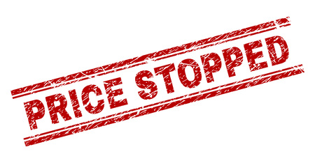 PRICE STOPPED seal imprint with grunge texture. Red vector rubber print of PRICE STOPPED text with unclean texture. Text tag is placed between double parallel lines. Vectores