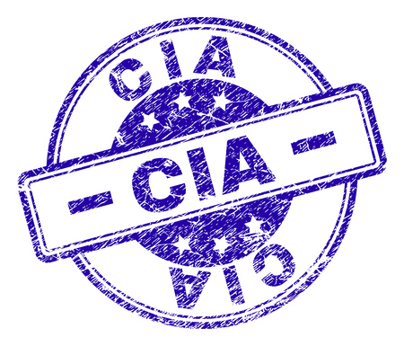 CIA stamp seal watermark with distress texture. Designed with rounded rectangles and circles. Blue vector rubber print of CIA caption with grunge texture.