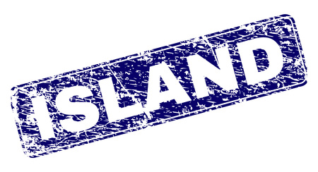 ISLAND stamp seal print with distress texture. Seal shape is a rounded rectangle with frame. Blue vector rubber print of ISLAND title with dirty texture.