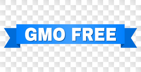 GMO FREE text on a ribbon. Designed with white caption and blue stripe. Vector banner with GMO FREE tag on a transparent background.