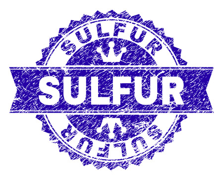 SULFUR rosette stamp imprint with distress style. Designed with round rosette, ribbon and small crowns. Blue vector rubber print of SULFUR title with unclean style.