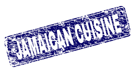 JAMAICAN CUISINE stamp seal imprint with distress style. Seal shape is a rounded rectangle with frame. Blue vector rubber print of JAMAICAN CUISINE text with scratched style. Illustration