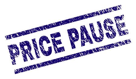 Impresión de sello de PRECIO PAUSA con estilo angustiado. Impresión de goma azul vector de etiqueta PRECIO PAUSA con textura sucia. La etiqueta de texto se coloca entre líneas paralelas.