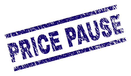 PRICE PAUSE seal print with distress style. Blue vector rubber print of PRICE PAUSE tag with dirty texture. Text tag is placed between parallel lines.