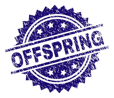 OFFSPRING stamp seal watermark with distress style. Blue vector rubber print of OFFSPRING text with corroded texture.