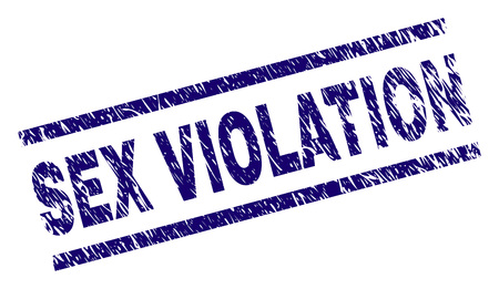 SEX VIOLATION seal print with scratced style. Blue vector rubber print of SEX VIOLATION text with dust texture. Text title is placed between parallel lines.