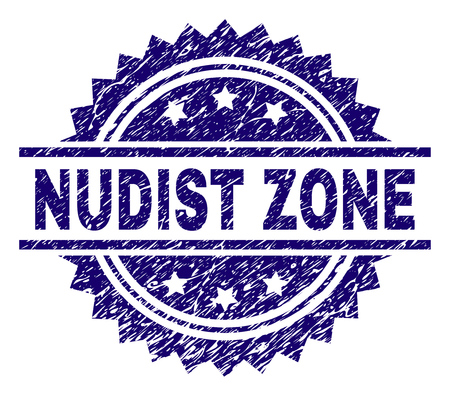 NUDIST ZONE stamp seal watermark with distress style. Blue vector rubber print of NUDIST ZONE caption with scratched texture. Illustration