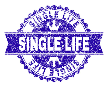 SINGLE LIFE rosette stamp seal overlay with distress style. Designed with round rosette, ribbon and small crowns. Blue vector rubber print of SINGLE LIFE caption with dust style.