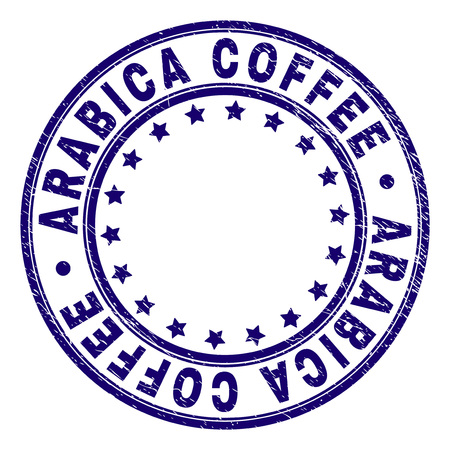 ARABICA COFFEE stamp seal watermark with grunge texture. Designed with round shapes and stars. Blue vector rubber print of ARABICA COFFEE tag with unclean texture.