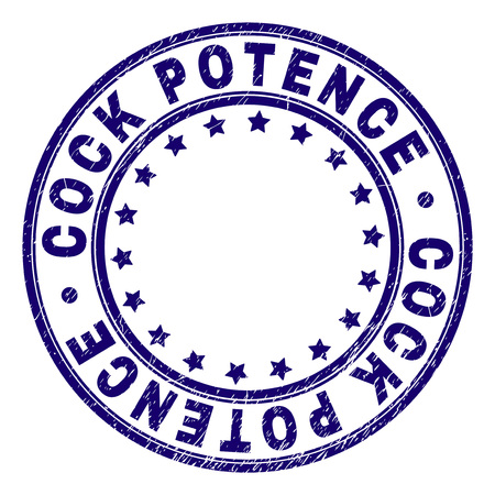 COCK POTENCE stamp seal watermark with distress texture. Designed with round shapes and stars. Blue vector rubber print of COCK POTENCE caption with scratched texture.