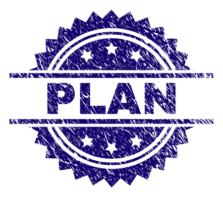 PLAN stamp seal watermark with distress style. Blue vector rubber print of PLAN title with unclean texture.