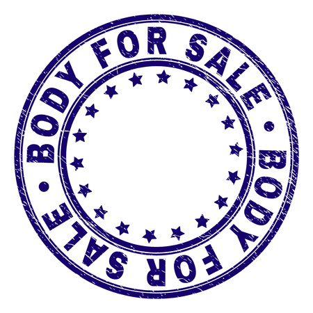 BODY FOR SALE stamp seal watermark with grunge style. Designed with circles and stars. Blue vector rubber print of BODY FOR SALE title with grunge texture. Ilustração