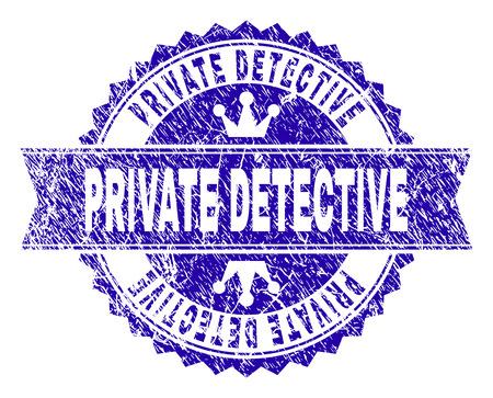 Filigrane de timbre rosette DETECTIVE PRIVÉ avec effet grunge. Conçu avec une rosette ronde, un ruban et de petites couronnes. Filigrane en caoutchouc vectoriel bleu du texte DETECTIVE PRIVÉ avec texture de la poussière.