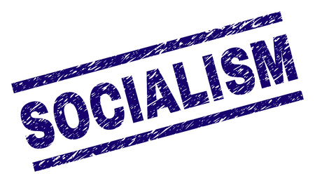 SOCIALISM seal print with grunge style. Blue vector rubber print of SOCIALISM label with dirty texture. Text title is placed between parallel lines. Ilustração