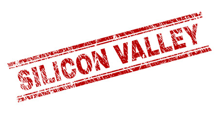 SILICON VALLEY seal watermark with distress texture. Red vector rubber print of SILICON VALLEY tag with dust texture. Text tag is placed between double parallel lines. Çizim