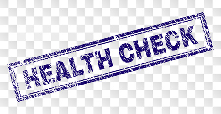 HEALTH CHECK stamp seal imprint with rubber print style and double framed rectangle shape. Stamp is placed on a transparent background.